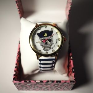 Betsy Johnson Watch Skull Navy Stripe Nautical